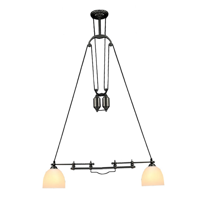 Adjustable Height Double Matte Glass Shades Pendant Ligh