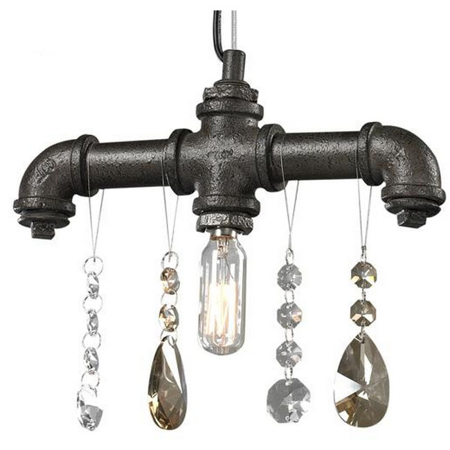 Industrial Water Pipe And Crystal Pendant Lighting 7409