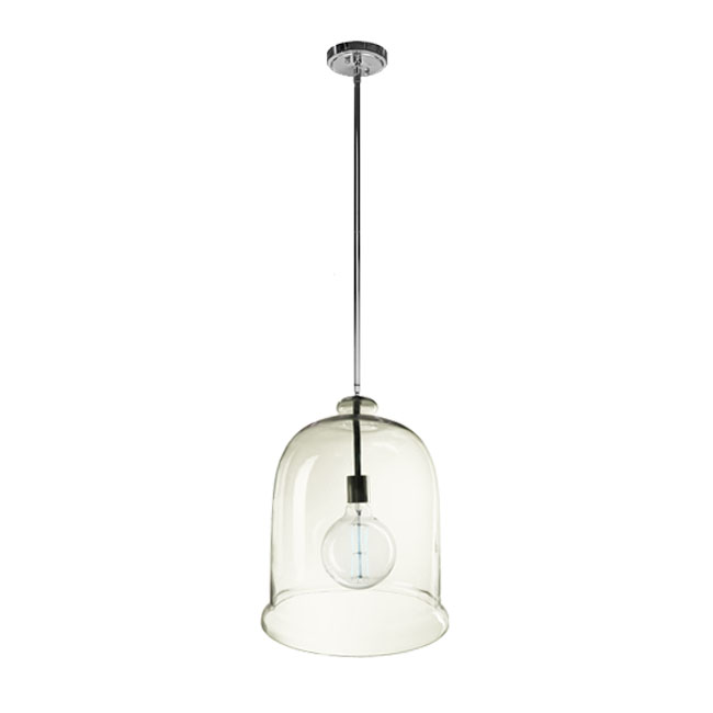 PHX North Big Size Clear Glass Pendant Lighting in Chrome Finish
