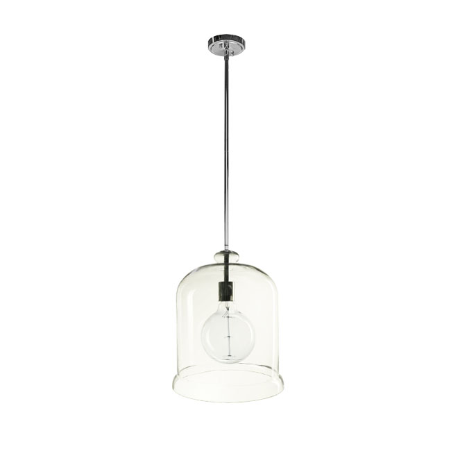 PHX Clear Glass Bell Pendant Lighting in Chrome Finish 11624