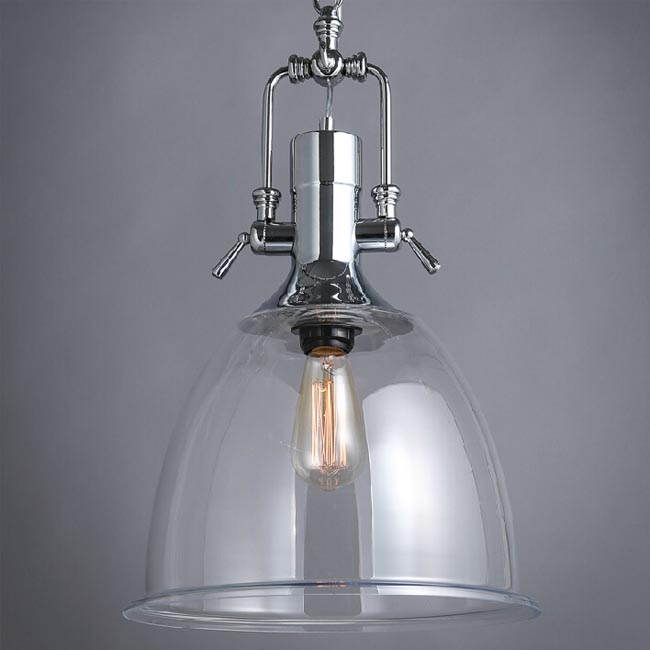 Industrial Heavy Metal And Clear Glass Shade Pendant