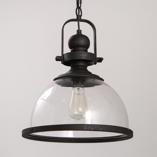 Loft Iron And Clear Glass Shade Pendant Lighting 12120