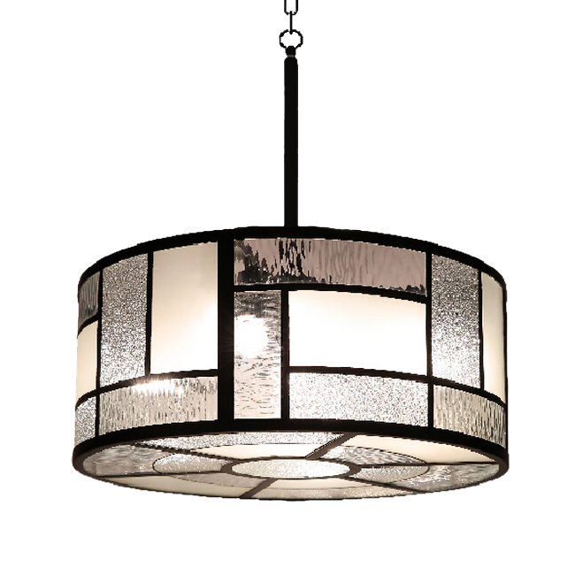 Anmex Round Blown Glass Pieces and Iron Frame Pendant Lighting 1