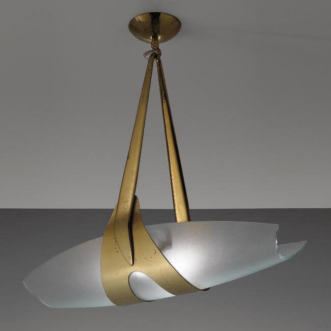 Max Ingrand Brass and Opaque Glass Ceiling Lamp 15262