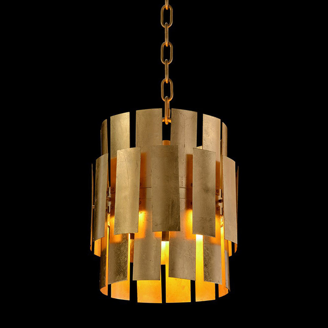 John Richard Panes of Gold-Leaf Metal Drop Light 16115