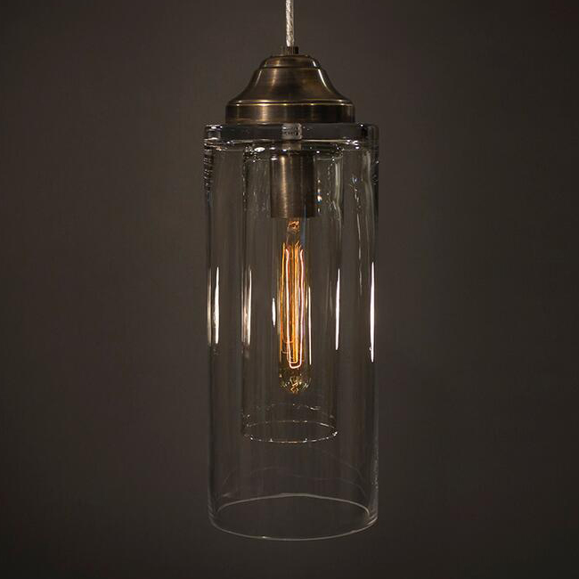 Double Cylinder Pendant Light in Aged Brass Finish 16121