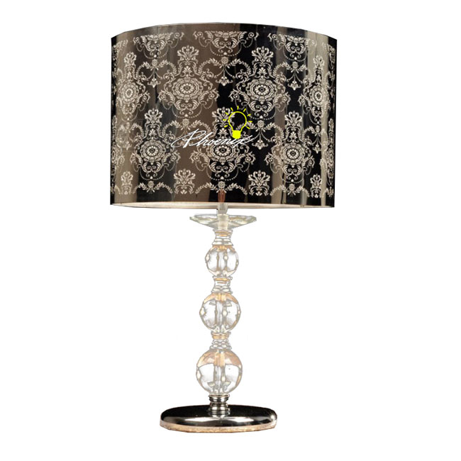 Carved Steel and Crystal Table Lamp in Stainless Finish 8295