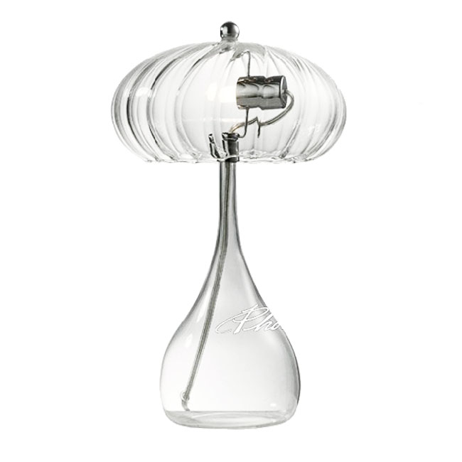 Blown Clear Glass Shade Table Lamp in Chrome Finish 8325