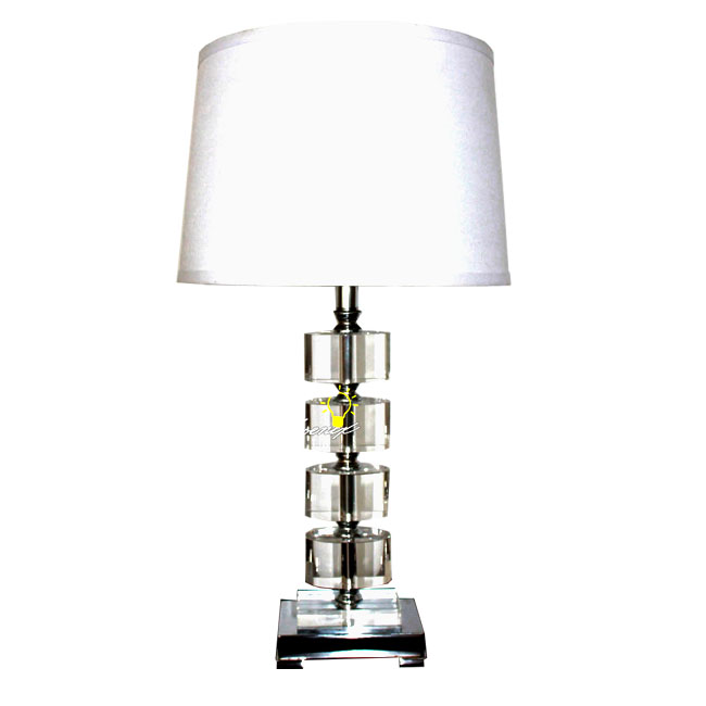 Modern Crystal And Fabric Table Lamp In Chrome Finish 8668