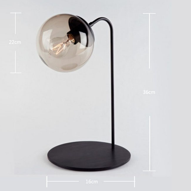IKEA Black Glass Ball Table Lamp 9250 ...