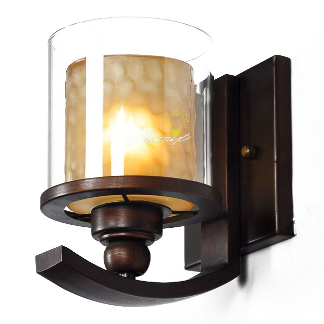 Brushed Bronze Wall Sconces : Iron and Glass Wall Sconce in Brushed Bronze Finish 7620 : Browse Project Lighting and Modern ...