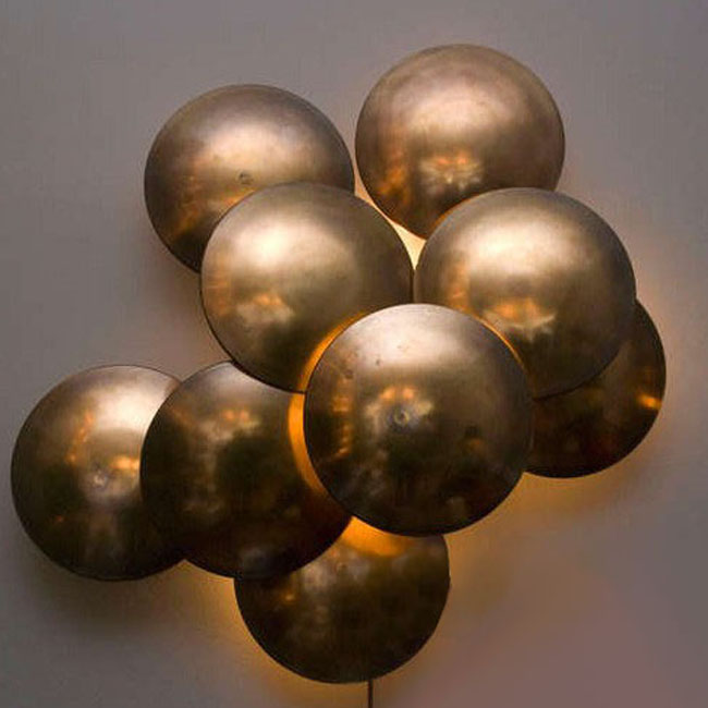 Antique Country Handmade Copper Half Ball Wall Sconce 9504