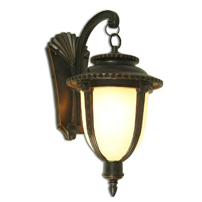 Antique Metal and Marble Glass Water Proofed Wall Sconce 9547