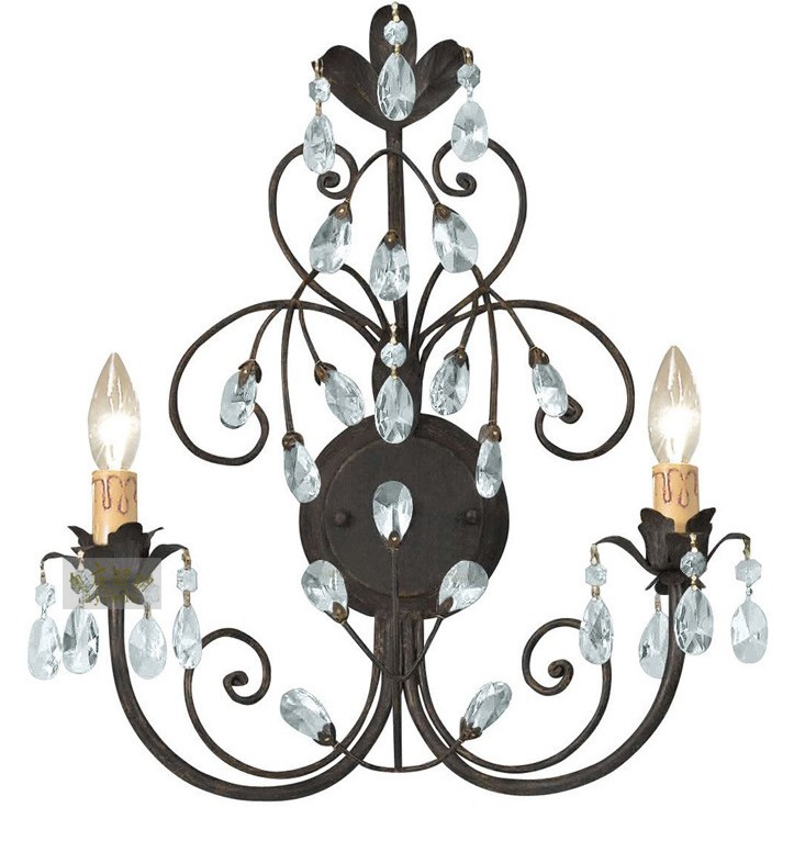 Antique Country Rusted Iron And Crystal Wall Sconce 9851