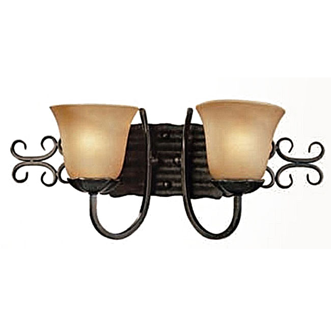 Antique Double Marble Shades Iron Art Wall Sconce 10597