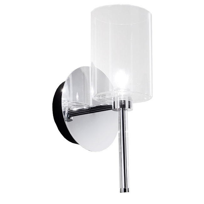 Modern Clear Glass Shade Wall Sconce In Chrome Finish 7384 Part 32