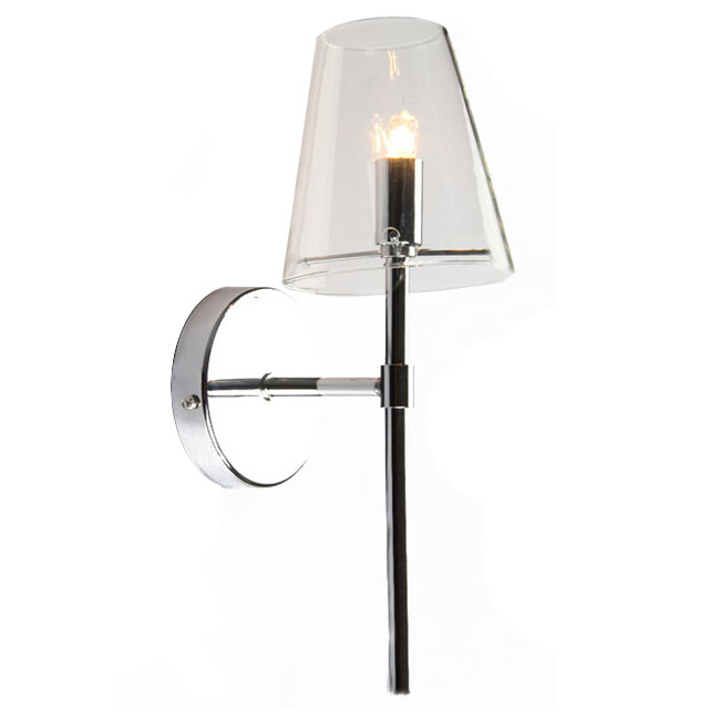Chrome Wall Sconces With Shade : Modern Chrome and Clear Glass Shade Wall Sconce 11190 : Browse Project Lighting and Modern ...